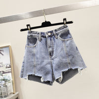 Shorts Women Summer Denim Solid 2XL High Waisted Crimping Casual All-match Womens