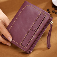 Retro Genuine 100% Genuine Leather Women Mini Wallet Large Capacity Card Holder Lady Money Bag Female Zipper Coin Case Short Pur