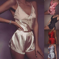 2Pcs  Women Satin Silk Pajama Set Sleeveless V Neck Floral Sleepwear Top+High Waist Shorts Ladies Hot Summer Lingerie
