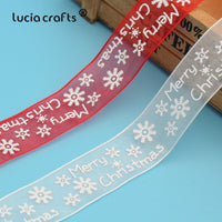 5yards 25mm Printed Snowflake Chiffon Organza Christmas Ribbons DIY Cake Gift Wrapping Bow Christmas Tree Decorations P0713
