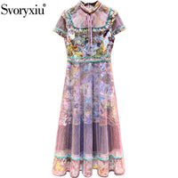 Svoryxiu Designer High End Summer Tulle Long Dress Women's Fashion Short Sleeve Vintage Totem Print Party Dresses Vestdios