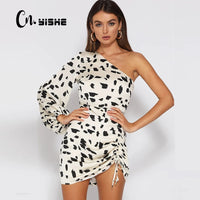 CNYISHE Casual One Shoulder Print Dress Women Sexy Elegant Backless Bandage Dress Female Streetwear Boho Mini Dresses Vestidos