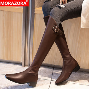 MORAZORA 2020 hot sale women knee high boots buckle fashion simple long boots autumn winter square heels Knight boots woman