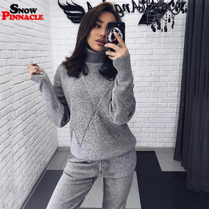 Fashion women knitted customs sets Autumn winter Turtleneck pullovers And Long pants Suits 2 Piece set Knit pant Sporting suit