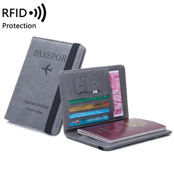 Women Men RFID Vintage Business Passport Covers Holder Multi-Function ID Bank Card PU Leather