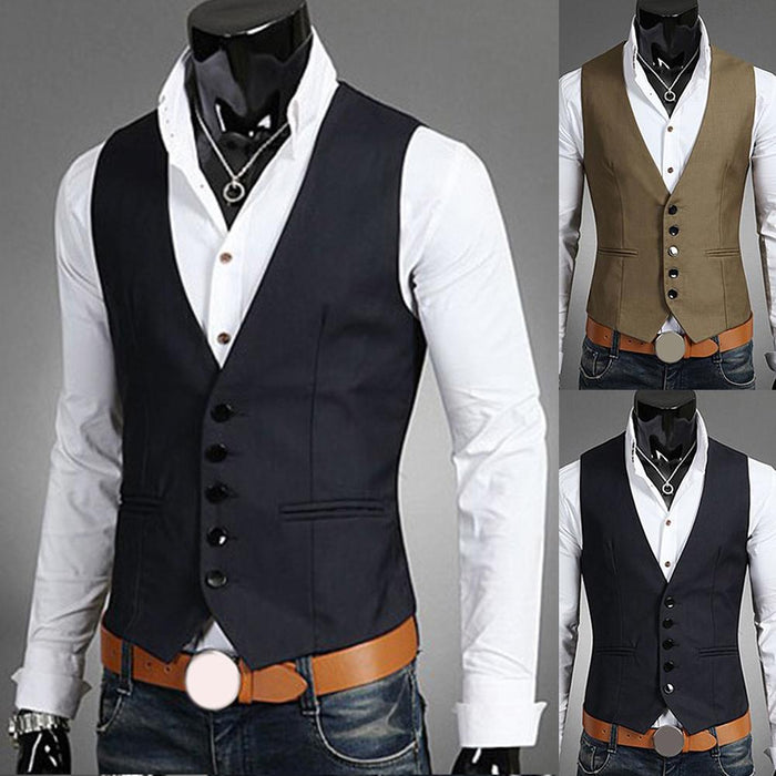 2019 New Dress Vests For Men Slims Fit Mens Suit Vest Male Waistcoat Gilet Homme Casual