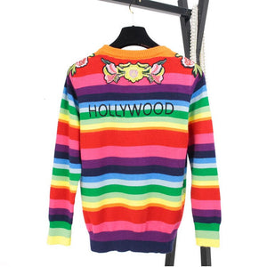 Women Sweater Rainbow Striped Unisex Runway Floral Embroidery Tiger Wool Pullovers Knitted Sweaters Letters Pull Femme Men Tops
