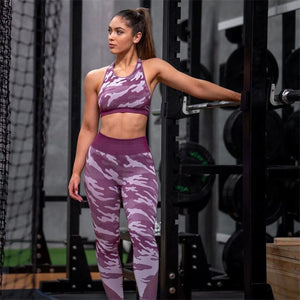 Pad 2PCS Camouflage Camo Yoga Set Sports Wear Women Gym Fitness Clothing Booty