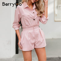 BerryGo Casual buttons two piece suits women set High waist pockets female short jumpsuit 2020 Summer style ladies sets outfit