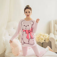 Spring Summer New Fashion Pajamas For Woman Long Sleeve & Pants Cotton Good Quality Sleepwear Woman's Pajama Sets