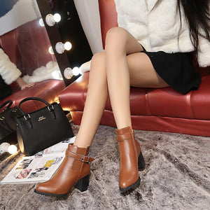 Women Ankle Boots Winter Suede High Heels Boots Ladies Fashion Pointed toe Gladiator Black Leather Shoes For Woman 2020 new
