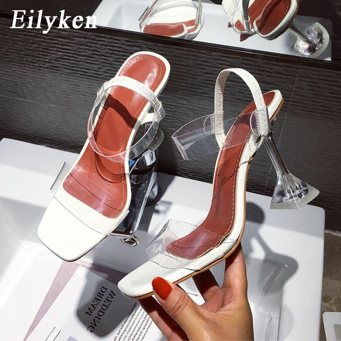 Eilyken White Yellow PVC Jelly Sandals Crystal Open Toe Perspex Spike High Heels