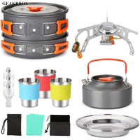 Outdoor Pots Pan Camping Hiking Cookware Picnic Kit Utensils Tableware Foldable Spoon Fork Knife Kettle Cup Tools for 1-2 Person