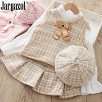 2019 Fall Clothes Set Baby Girls High Quality 3 Pcs Clothing Suit Waistcoat Pleated Skirt & Berets Hat Baby Girl's Clothing Set