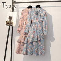 Trytree 2019 Autumn Women Casual Bow Collar Flare Sleeve Print Fashion A-line Ruffles Mid-Calf Loose 2 Colour Office Lady Dress