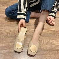 Thick Low Heel Slippers Women Shoes Woman Mules 2020 Spring New Metal Square Buckle Fashion Casual Shoes Solid Leather Slides