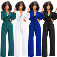 Tsuretobe Casual Bandage Jumpsuit Wide Leg Pants Women Long Sleeve Rompers Buttons Elegant V-Neck Overalls Sashes Outfits Mujer