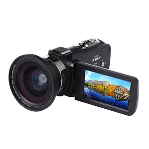 4K WiFi Ultra HD 1080P Digital Camera DV + Lens + Microphone Video Video Photography Recording Microphone Vlog Camera Phone