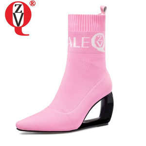 ZVQ brand woman booties knitting wool stretch boots autumn winter cute pink fashion black hollow high heels women's shoes 43CN