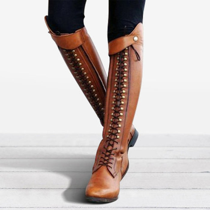 JAYCOSIN Cool Women Rider Horse Riding Boots Smooth Leather Knee High Boots Autumn