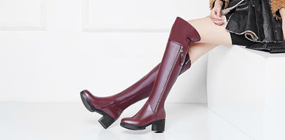 2020 Women Over knee boots Genuine Leather Women Shoes thick Warm Winter long Boots Fashion High Heel Women Motorcycle Boots