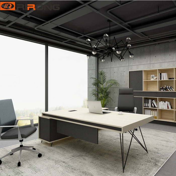 Industrial  Geometric Fashion Office Furniture Design 1.8 meter Nordic Wooden Executive
