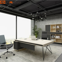 Industrial  Geometric Fashion Office Furniture Design 1.8 meter Nordic Wooden Executive Manager Table Desk
