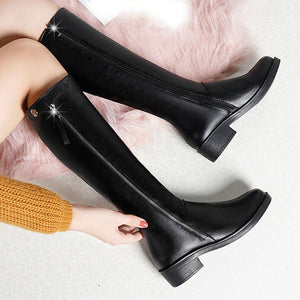 Over The Knee Boots Winter Round Toe Warm Women Boots Lady Fashion Boots Big Size Side Zip Bare Boots Square Heel Long Booties