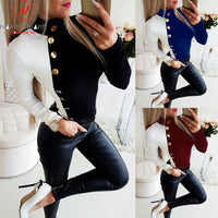 Women Long Sleeve T-Shirts for Streetwear Patchwork Color Matching Design Button Decor O-Neck Long Sleeve Slim Pullover Shirts