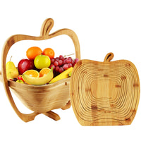 Fruit Storage Basket Bamboo Racks Foldable Storage Basket Shaped Expandable Collapsible