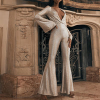 Sexy Party Women 's Glitter Jumpsuits Skinny Ruffles V-neck Trumpet Long Sleeve Spring 2020 Autumn Elegant Jumpsuit Female
