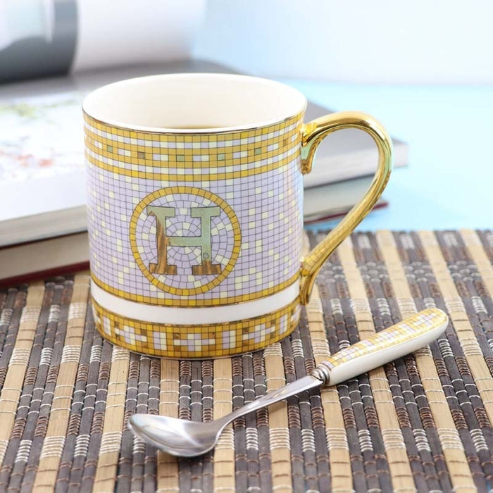 Ceramics Coffee Cup European Coffee Mug Originality Bone China Golden Letters Black Tea