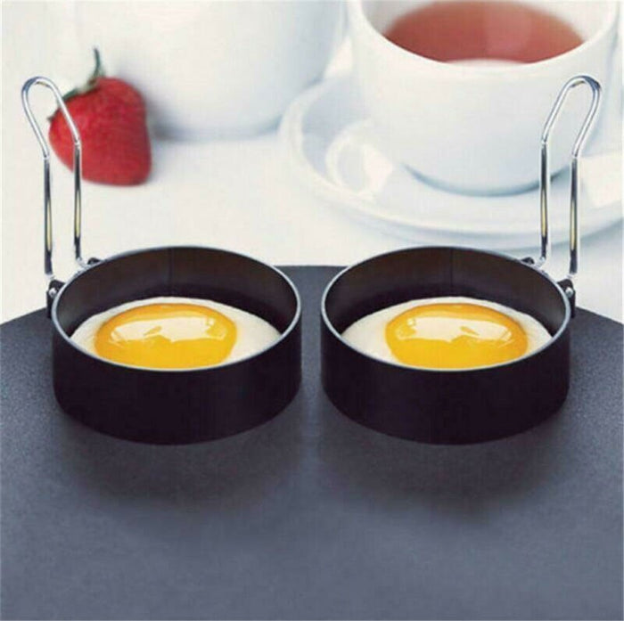 Metal Egg Frying Rings Perfect Circle Round Fried/Poach Mould + Handle Non Stick