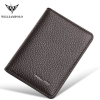 WILLIAMPOLO Real leather wallet small card bag men short slim small short leather cowskin