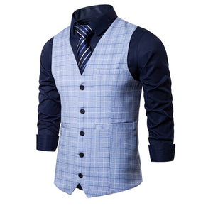 New Mens Vest Casual Business Men Suit Vests Male Lattice Waistcoat Fashion Mens Sleeveless