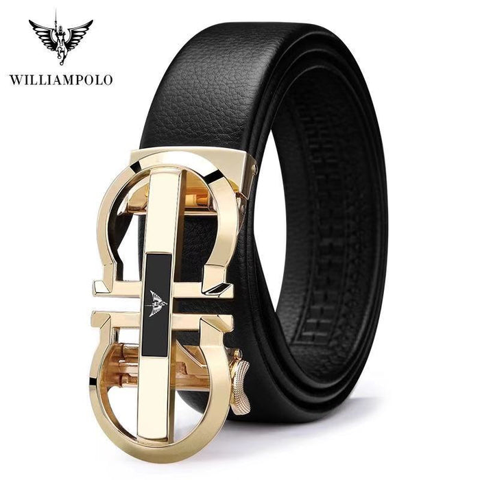 Brand  Luxury Designer Leather Mens Genuine Leather Strap Automatic Buckle Waist Belt Gold