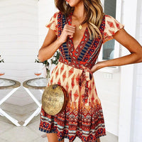 JH Sleeve Floral Print Ethnic Summer Beach Female Split Stylish Style women dress Sleeveless