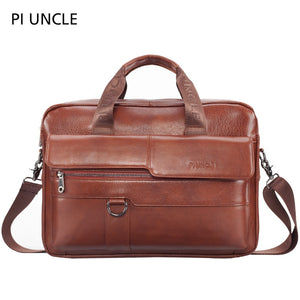 PIUNCLE Brand Men's Genuine Leather Vintage Briefcase 14 inch Computer Bag Business Crossbody Laptop Handbag Documents Messenger