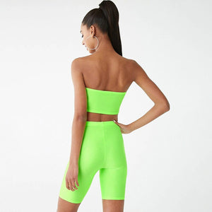 Summer Solid 2 Piece Set Casual Fitness Clothing Tracksuits Women Strapless Top And Biker Shorts Yoga Set Sport Suit Active Wear