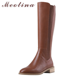 Meotina Autumn Riding Boots Women Natural Genuine Leather Chunky Heel Knee High Boots Zipper Round Toe Long Shoes Lady Winter 39
