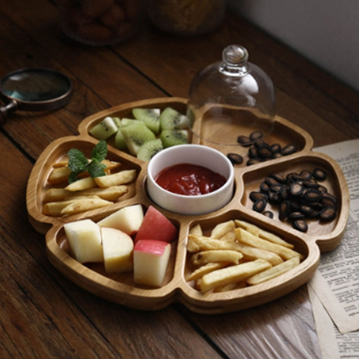 Petal Shaped Six Compartments, Nut Box, Dried Fruit Plate, Creative Compartment Snack Plate,