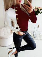 Women Long Sleeve T-Shirts for Streetwear Patchwork Color Matching Design Button Decor O-Neck