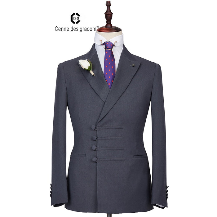 2020 Cenne Des Graoom New Men Suit Jacket+Pants Latest Designs Double Breasted Two Pieces
