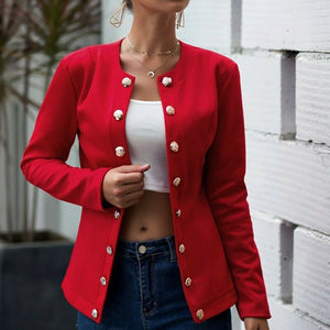 Autumn Women Solid Long Sleeve Jackets Cardigan Office Lady Slim Lapel Neck Button Suit Autumn Leisure Tops Outerwear D30