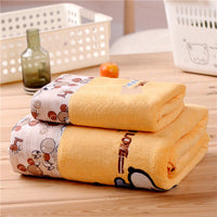 2-piece bath towel set  soft absorbent cartoon towel adult children bath towel set bathroom outdoor sports beach towel