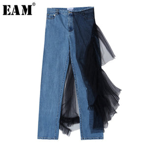 [EAM] High Waist Blue Mesh Split Joint Long Denim Trousers New Loose Fit Pants Women Fashion Tide Spring Autumn 2020 1S195