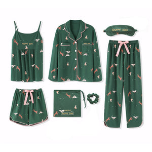 2019 100% Cotton Women Pajamas Sets 7 Pieces Set Casual Sleepwear Autumn Winter Long Sleeve Cute Home Clothes for Girls