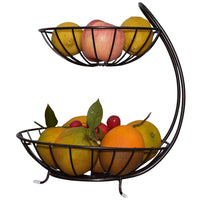 Wrought Iron Double Layer Fruit Basket Metal Fruit Basket Banana Hanger Holder Organizer Metal Fruit Basket Kitchen Supplies