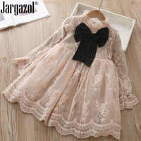 Fashion Girls Winter Dress with Black Bowknot Long Sleeve Beige Princess Ball Gown New Style Party Dress Wedding Clothes
