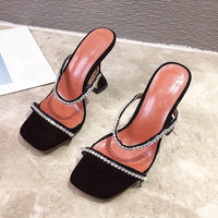 Kcenid New summer slippers women leopard high heels fashion strap rhinestone sandals outdoor shoes plus size mules shoes women
